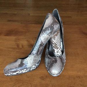 "Stuart Weitzman faux snakeskin 3"" platform pumps"